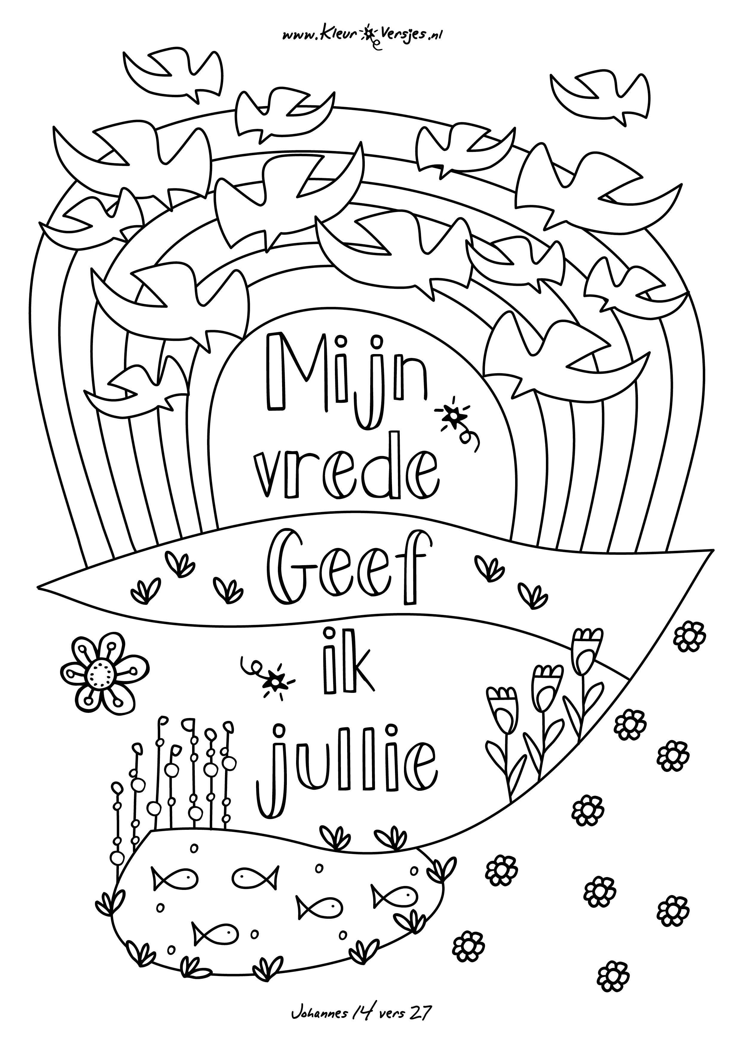 Kleurplaat Met Bijbeltekst 013 Mijn Vrede Geef Ik Jullie Kleurversjes Nl