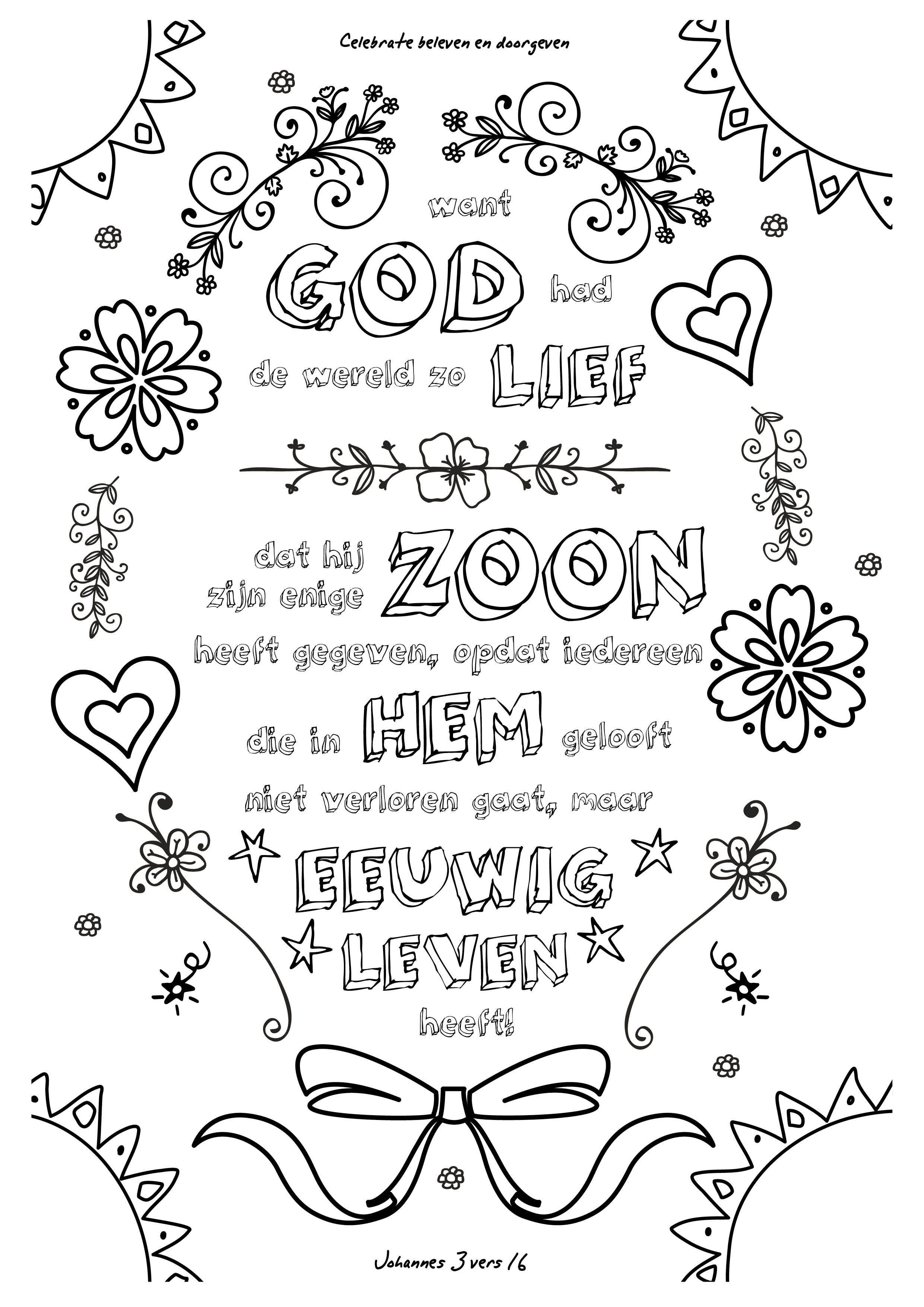 Volwassen Kleurplaten Verjaardag 001 Want God Had De Wereld Zo Lief Kleurversjes Nl