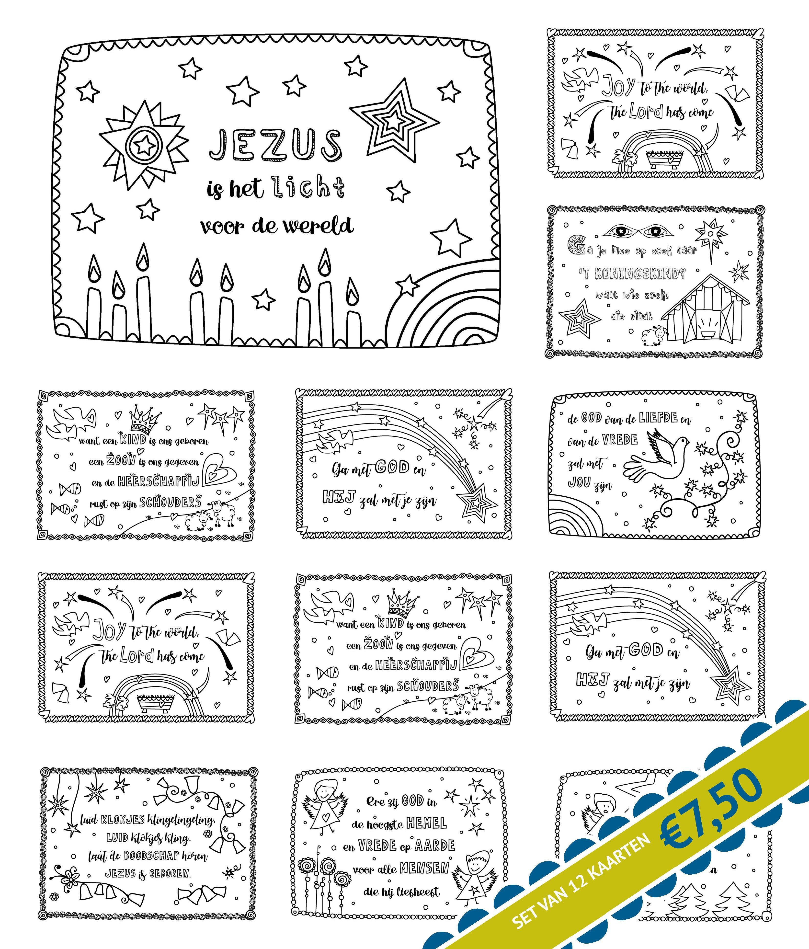 Set Van 12 Kerstkaarten Kleurversjes Nl