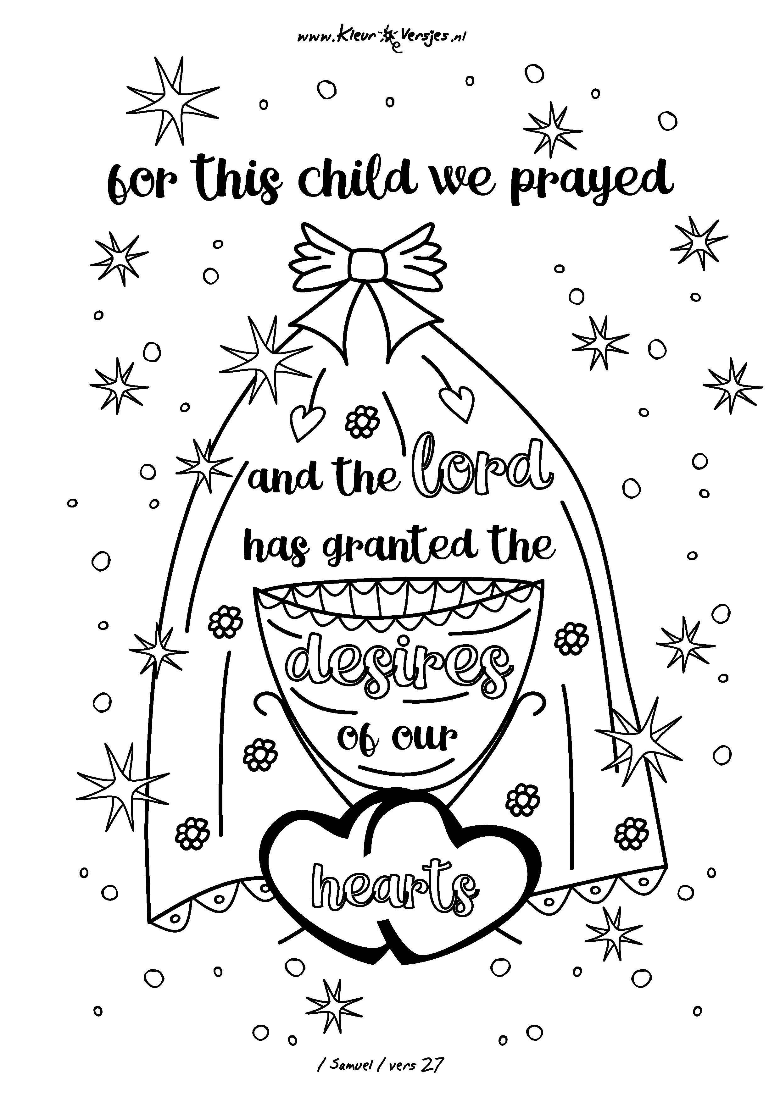 Christelijke Kleurplaten Advent 014 For This Child We Prayed Kleurversjes Nl