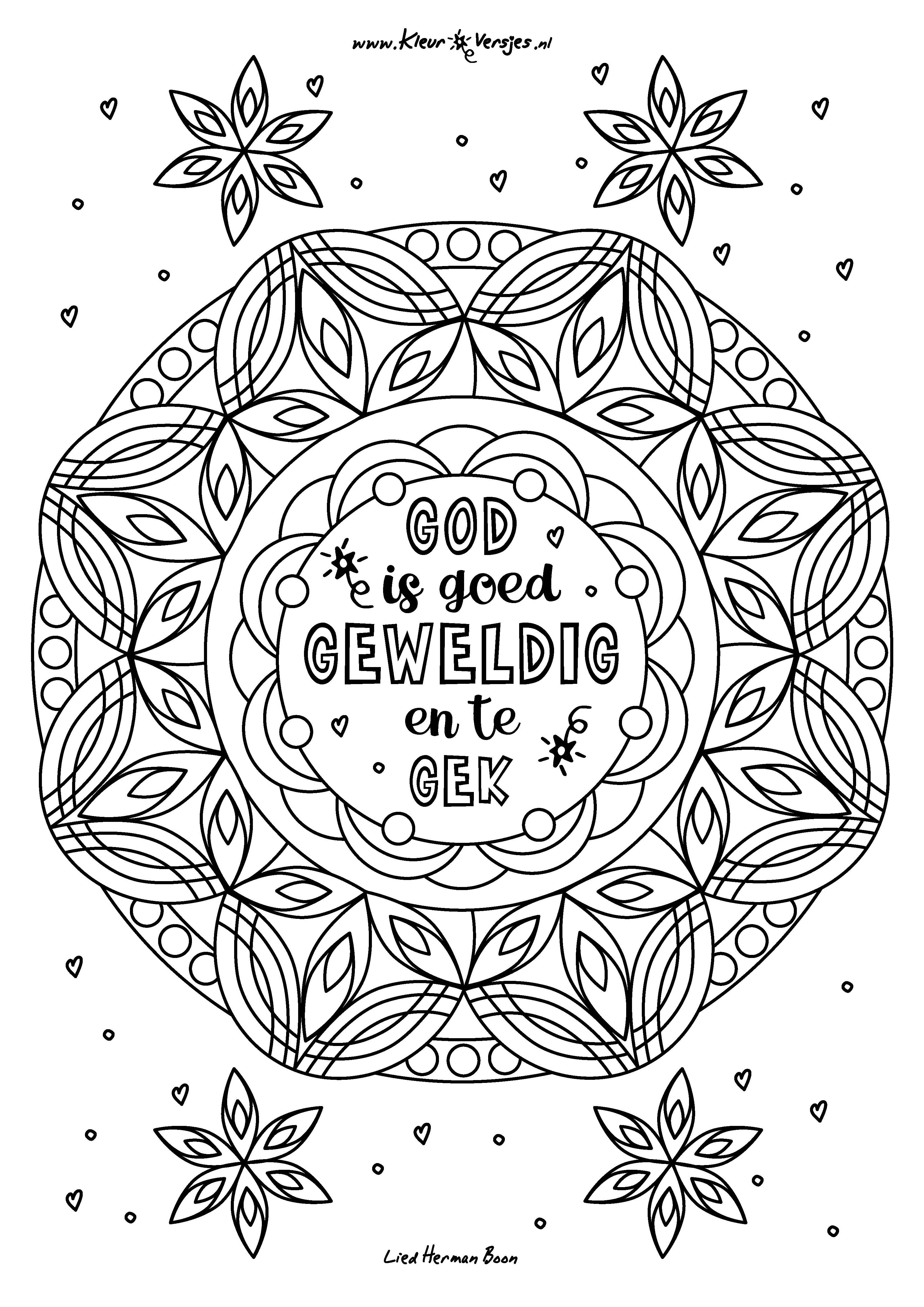 Christelijke kleurplaat God is Goed