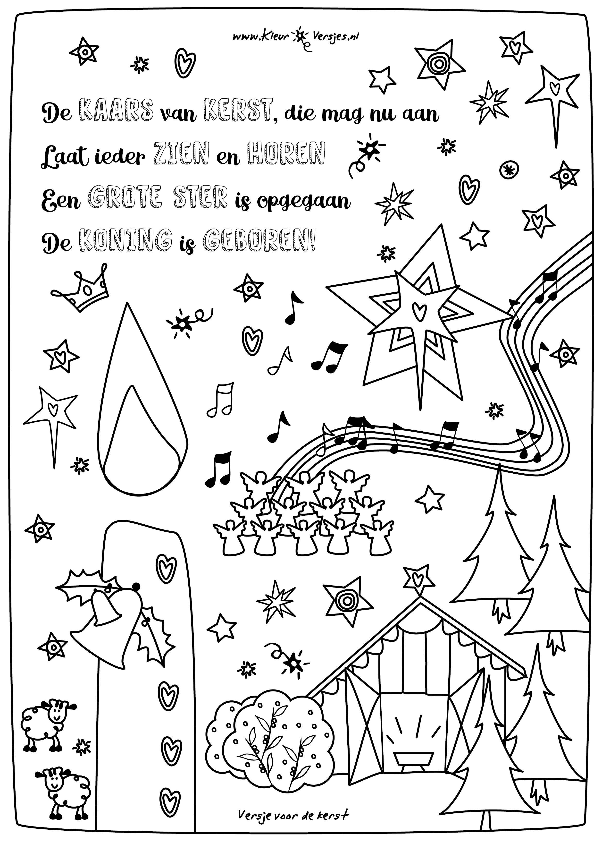 063 de kaars kerst kleurversjes nl